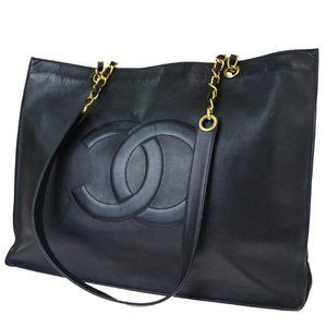 CHANEL CC Chain Shoulder Tote Bag Leather Black Go